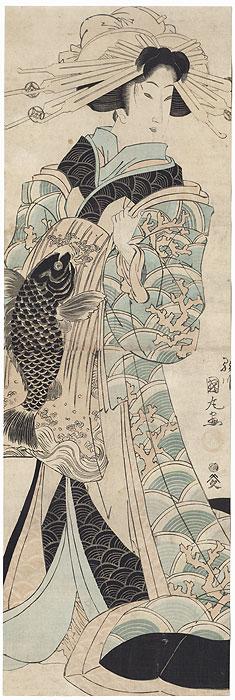 Courtesan with a Carp Obi Kakemono by Kunitora (active circa 1810s- 1840s)
