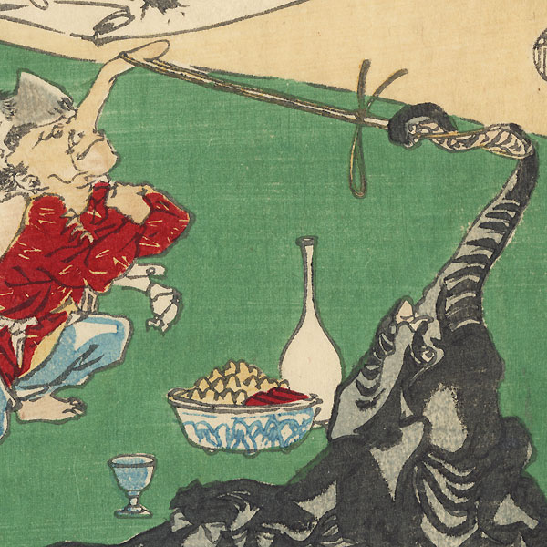 The Great Tengu Does Calligraphy; A Nose-pulling Contest with an Elephant by Kyosai (1831 - 1889)