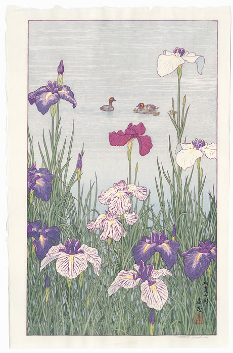Irises and Ducks by Toshi Yoshida (1911 - 1995)