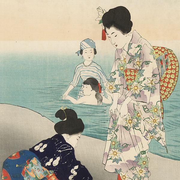 July: Bathing in the Sea by Miyagawa Shuntei (1873 - 1914)