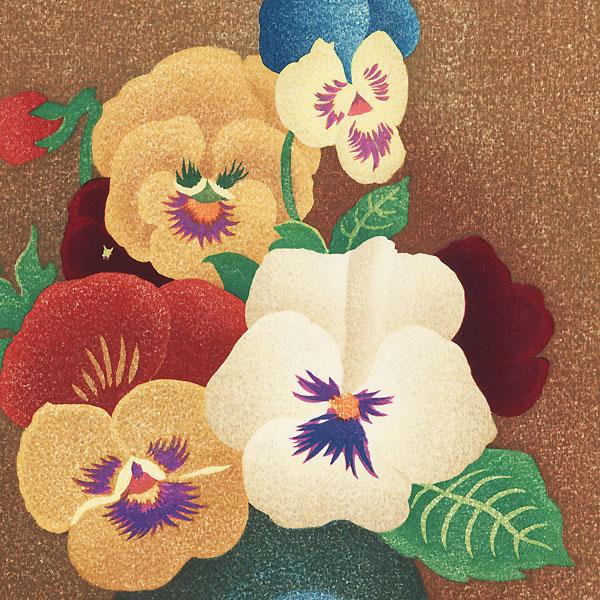 Tri-color Violets, 1970 by Oka Shikanosuke (1898 - 1978)