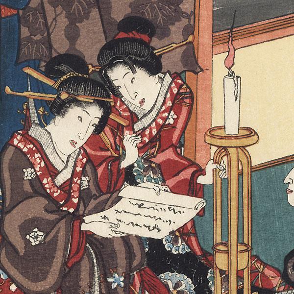 Hanachirusato, Chapter 11, 1854 by Toyokuni III/Kunisada (1786 - 1864)