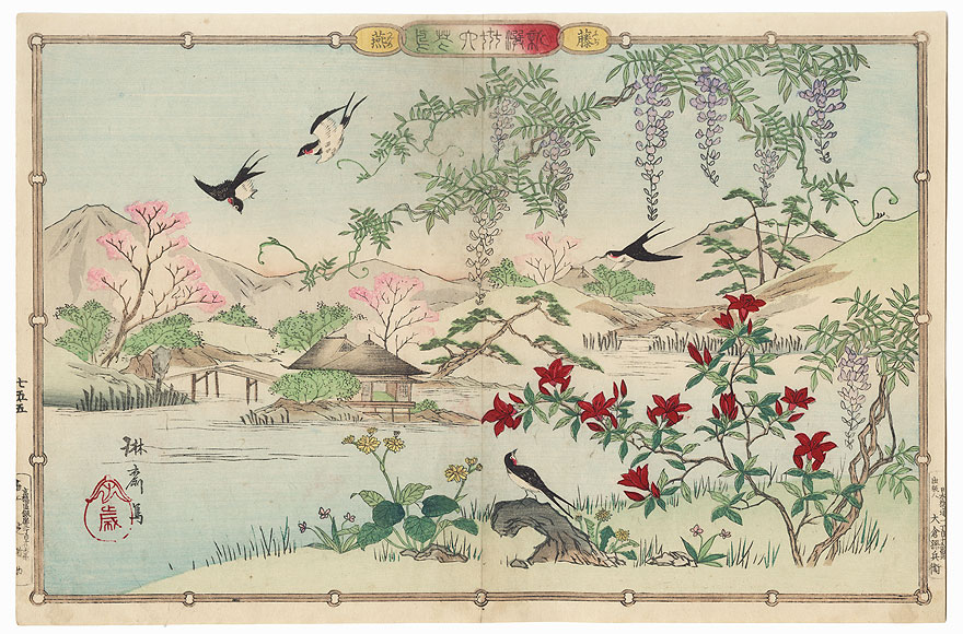 Swallows and Wisteria by Rinsai (1847 - ?)