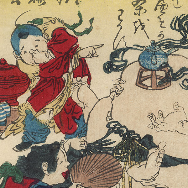 Boiling Navel Tea and Biting a Man's Leg by Kyosai (1831 - 1889)