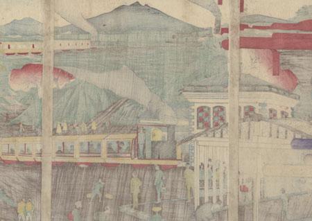 Train at Yamashita, Tokyo, 1885 by Kuninao II (active circa 1883 - 1892)