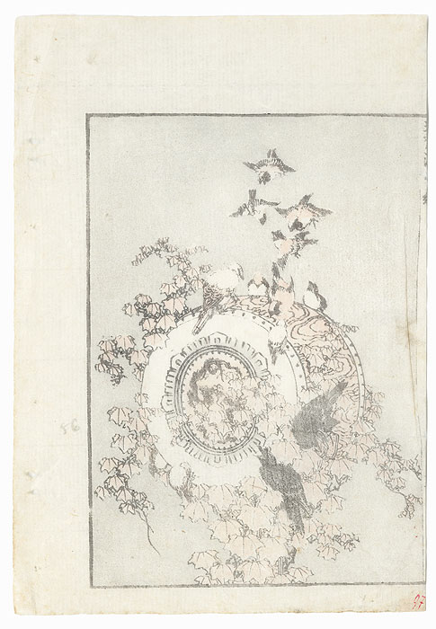 Sparrow, Crows, and Drum by Hokusai (1760 - 1849)