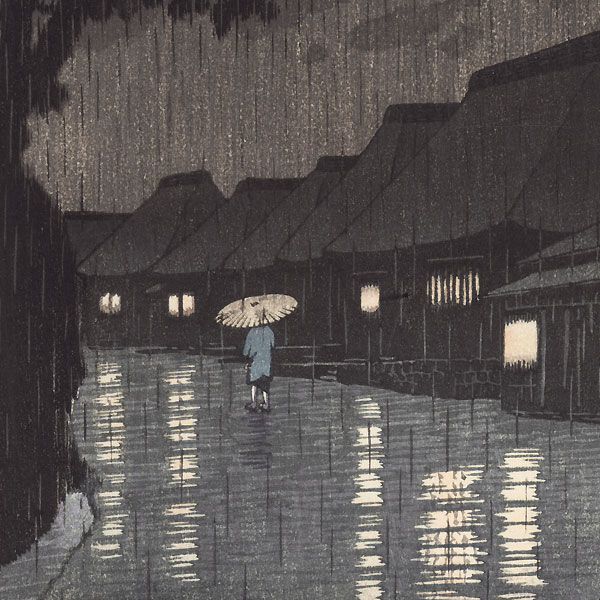 Rain at Maekawa in Sagami Province, 1932 by Hasui (1883 - 1957)