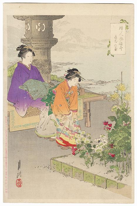 Evening Cool in a Chrysanthemum Garden by Gekko (1859 - 1920)