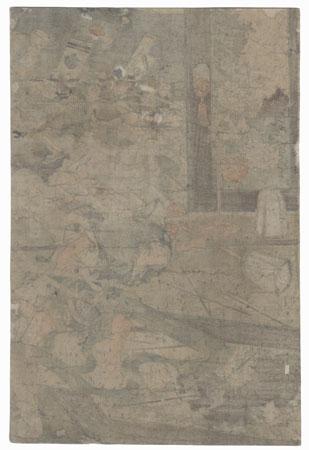 The Night Attack on the Yamaki Mansion, When Yoritomo First Raised His Banner, 1854 by Kuniyoshi (1797 - 1861)