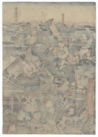 Battle along the Water's Edge, 1847 - 1852 by Yoshitora (active circa 1840 - 1880)