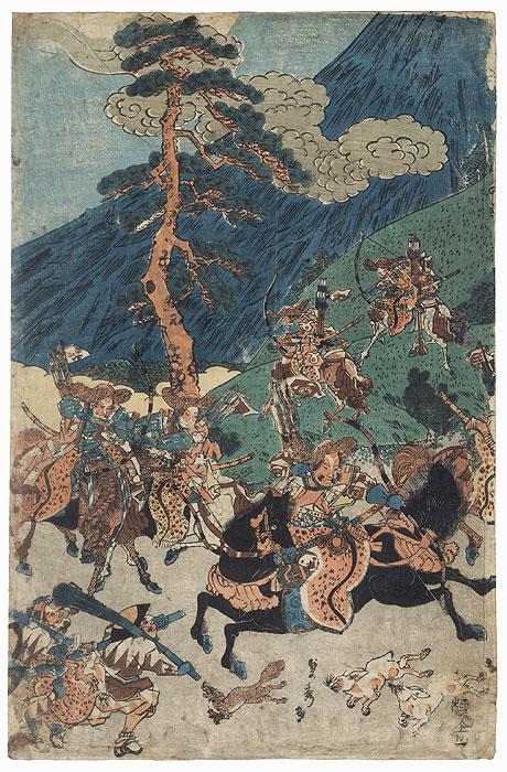 Yoritomo's Hunt at the Foot of Mount Fuji by Sadahide (1807 - 1873)