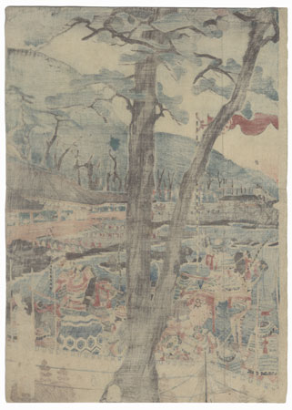 Minamoto Encampment along the Shore, 1858 by Sadahide (1807 - 1873)