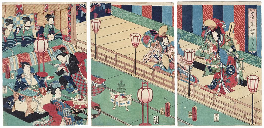 A Modern Version of the Male Dance of the Shirabyoshi Dancers, 1855 by Toyokuni III/Kunisada (1786 - 1864)