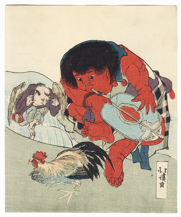 Kintaro Refereeing a Fight between a Rooster and a Tengu Surimono by Hokkei (1780 - 1850)