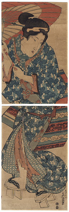 Beauty with an Umbrella Kakemono by Eisen (1790 - 1848)