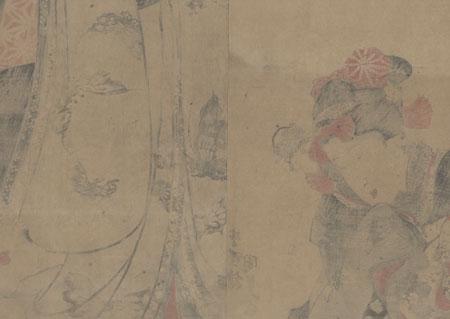 Beauty with a Doll and a Cat Kakemono, circa early 1830s by Toyokuni III/Kunisada (1786 - 1864)