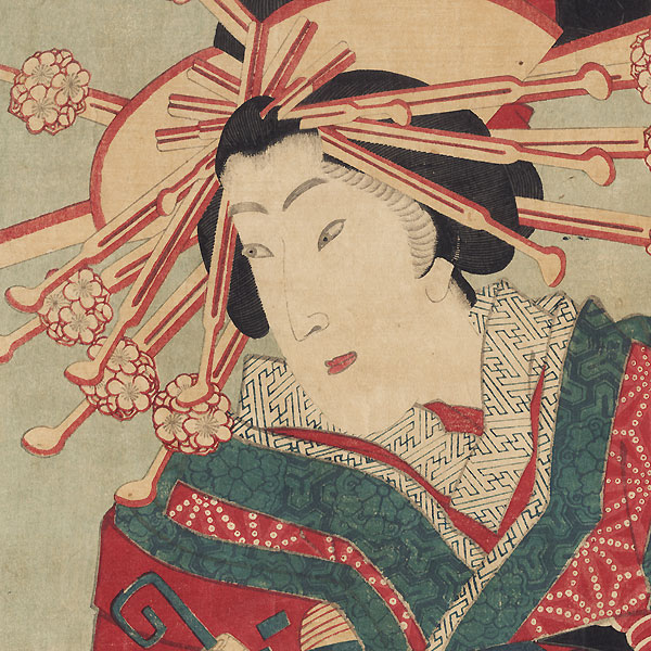 Courtesan with a Dragon Obi Kakemono, 1878 by Kunisada III (1848 - 1920)