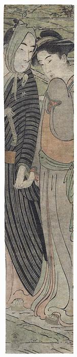 Couple Holding Hands Kakemono by Edo era artist (unsigned)
