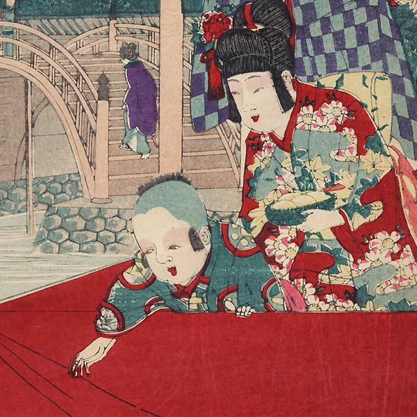 Visiting Kameido Tenjin Shrine by Nobukazu (1874 - 1944)