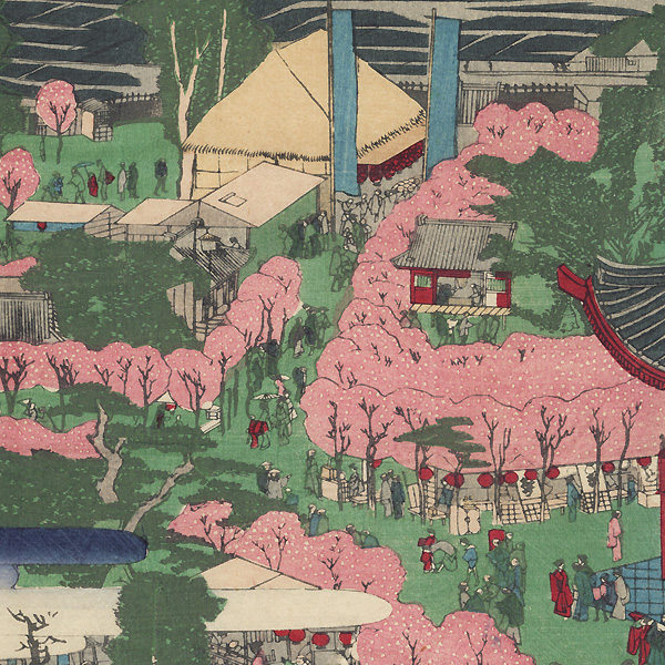 Panoramic View of the Grounds of  Temple by Meiji era artist (unsigned)