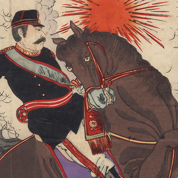 The Courageous Fight of Captain Matsuzaki During the Battle of Songhwan, 1894 by Nobukazu (1874 - 1944)