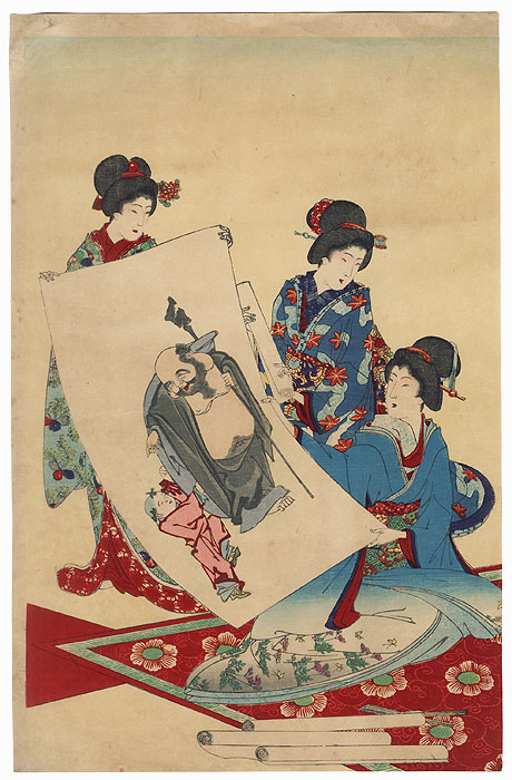 Beauties with a Painting, 1891 by Chikanobu (1838 - 1912)