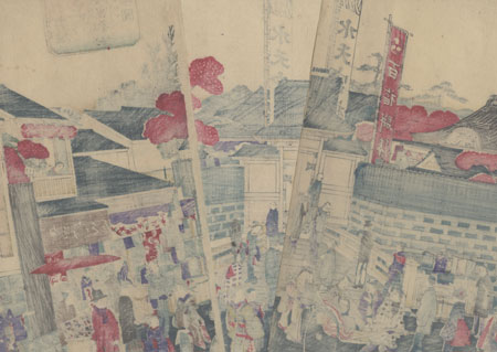 Crowd Visiting Suitengu Shrine at Ningyocho Street by Kunisada III (1848 - 1920)