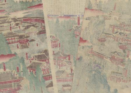 Panoramic View of Toshogu Shrine in Nikko, 1887 by Meiji era artist (unsigned)