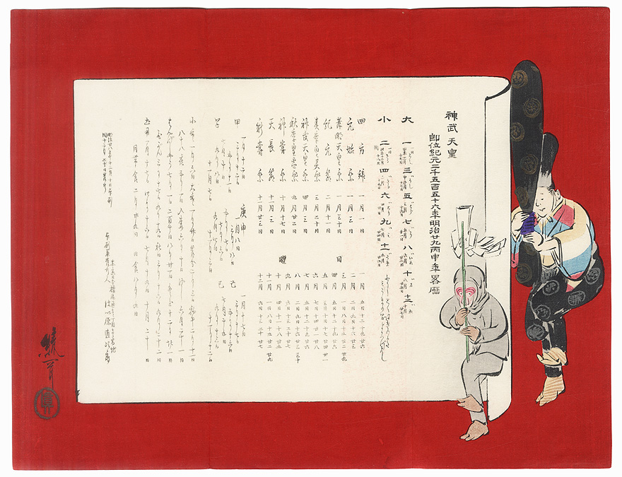 Year of the Monkey Calendar, 1896 by Ayoka Yushin (1846 - 1910)