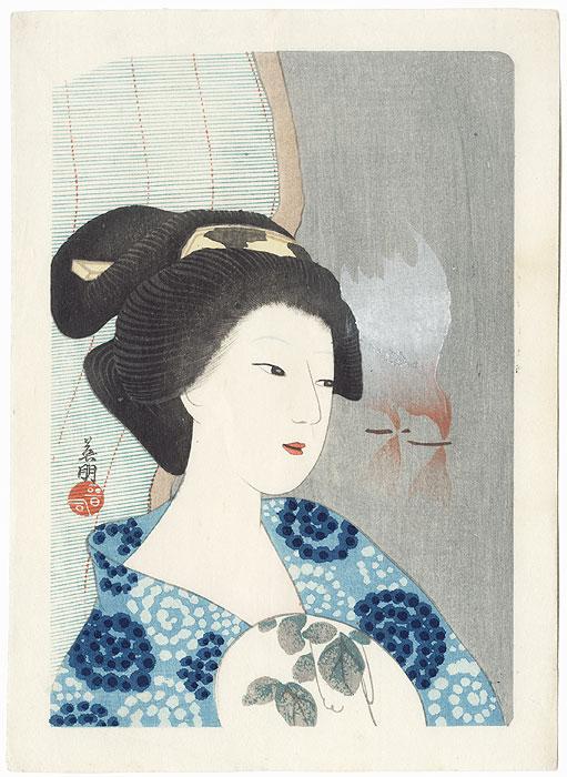 Beauty with a Fan by Hirezaki Eiho (1881 - 1970)