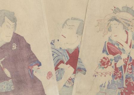 New Play at the Kabuki-za: Kurotegumi Kuruwa no Tatehiki Musical Selection, 1899 by Kunichika (1835 - 1900)