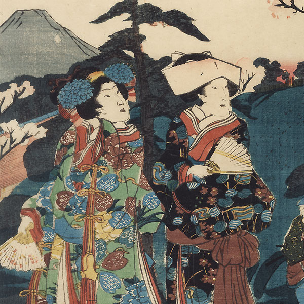 The Four Seasons: Plum Blossom Viewing at Asakusa Okuyama, 1852 by Toyokuni III/Kunisada (1786 - 1864)