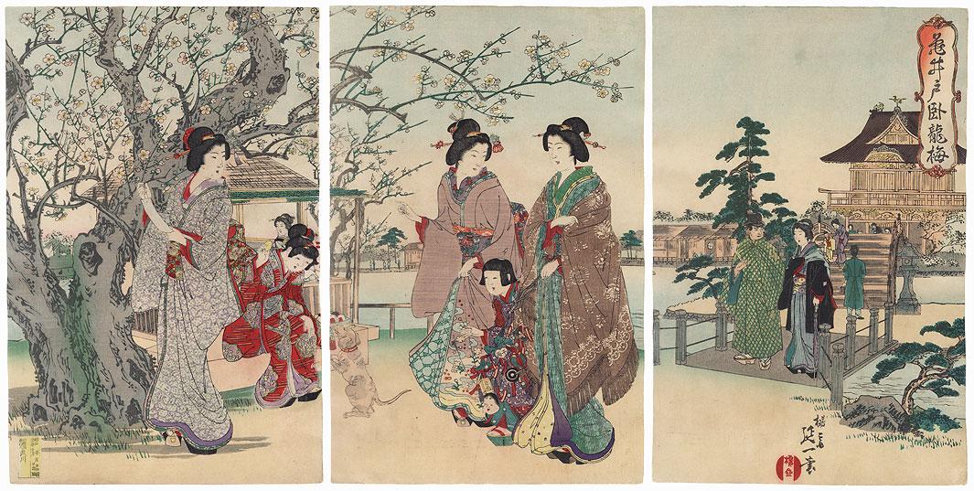 The Sleeping Dragon Plum Tree at Kameido, 1893 by Nobukazu (1874 - 1944)
