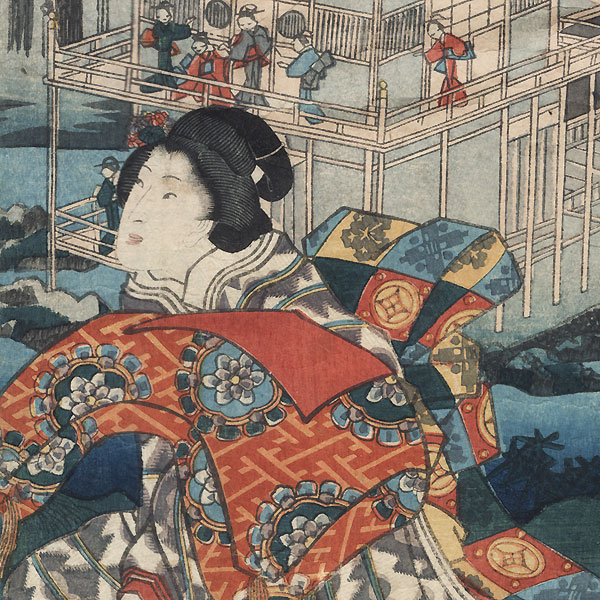 Flower Viewing at the Golden Pavilion, 1854 by Toyokuni III/Kunisada (1786 - 1864)