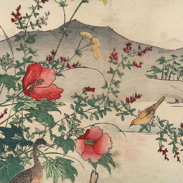 Heron and Hibiscus by Rinsai (1847 - ?)