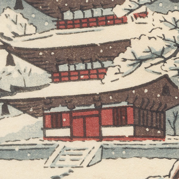 Pagoda in Winter by Shin-hanga & Modern artist (unsigned)