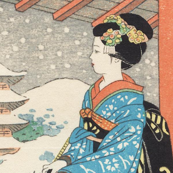 Kyoto Maiko in Winter by Shin-hanga & Modern artist (unsigned)