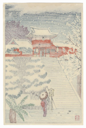 Temple Entrance Gate in Snow by Aoyama Masaharu (1893 - 1969)
