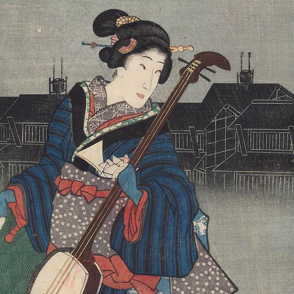 Street Musicians, 1856 by Toyokuni III/Kunisada (1786 - 1864)