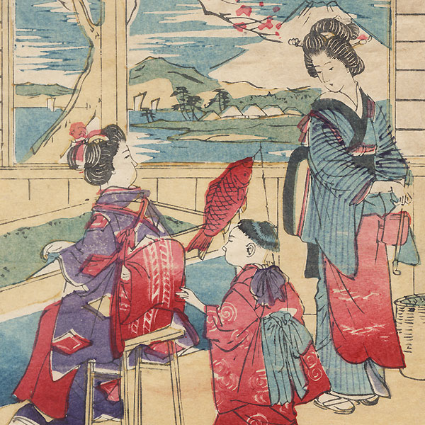 Harvesting Tea Leaves by Meiji era artist (unsigned)