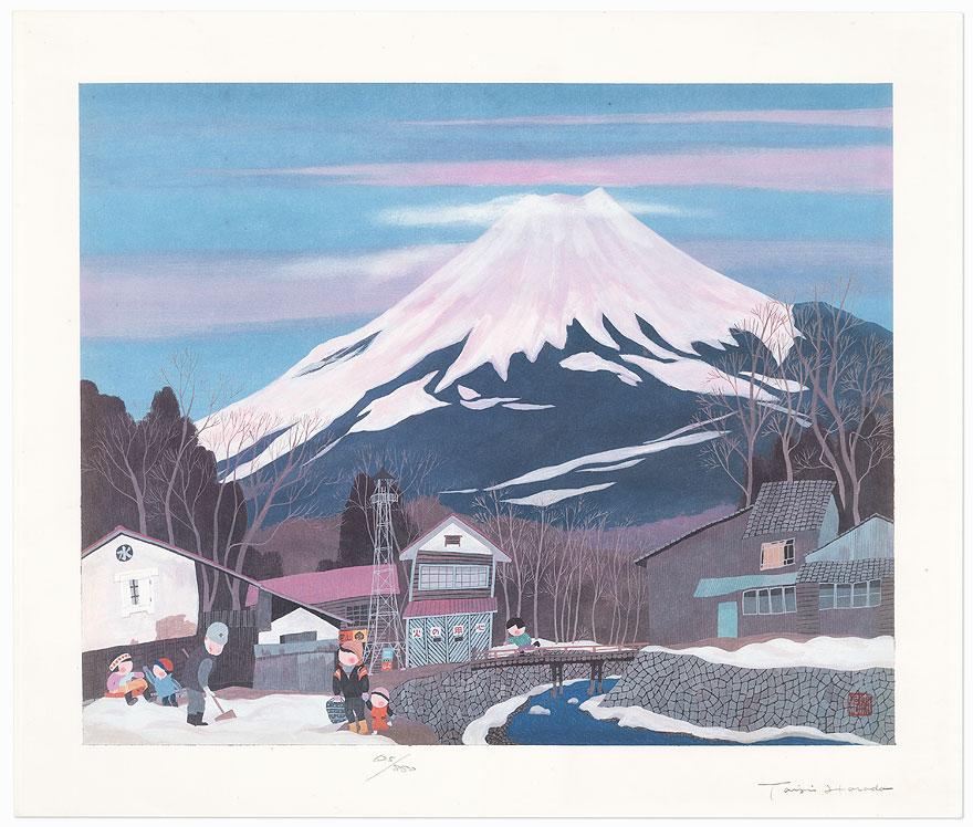 Winter: Town at the Foot of Mt. Fuji by Taizi Harada (born 1940)