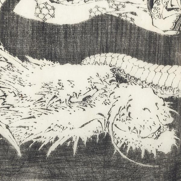 Young Boy Caught beneath an Enormous Dragon by Hokusai (1760 - 1849)
