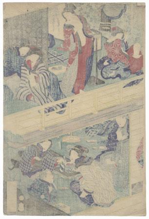 Inside a Teahouse by Yoshiiku (1833 - 1904)