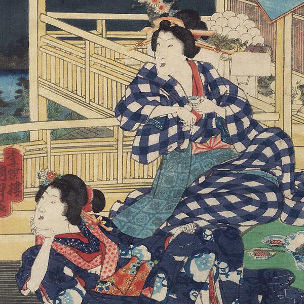 Eastern Genji and the Autumn Moon at Fukagawa, 1856 by Kunisada II (1823 - 1880)
