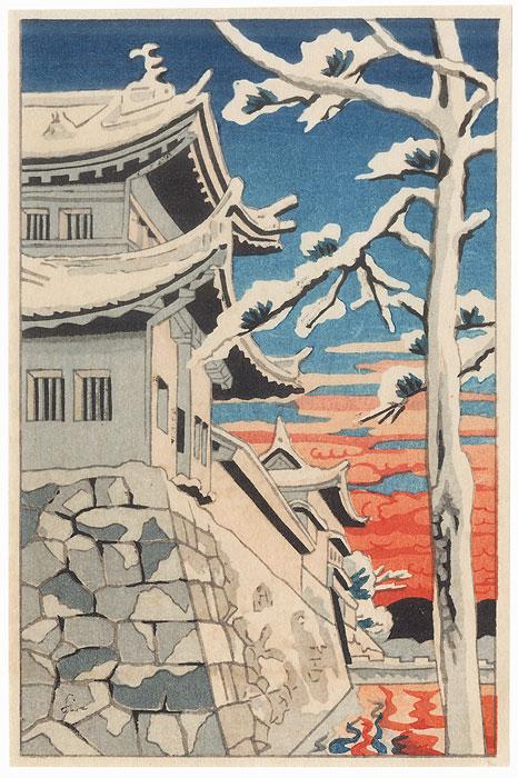 Castle Wall at Sunset by Shin-hanga & Modern artist (unsigned)