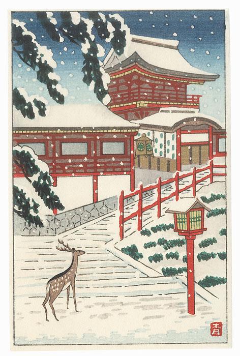 Deer and Temple Gate by Aoyama Masaharu (1893 - 1969)