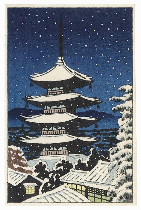 Yasaka Pagoda under Falling Snow by Shin-hanga & Modern artist (unsigned)