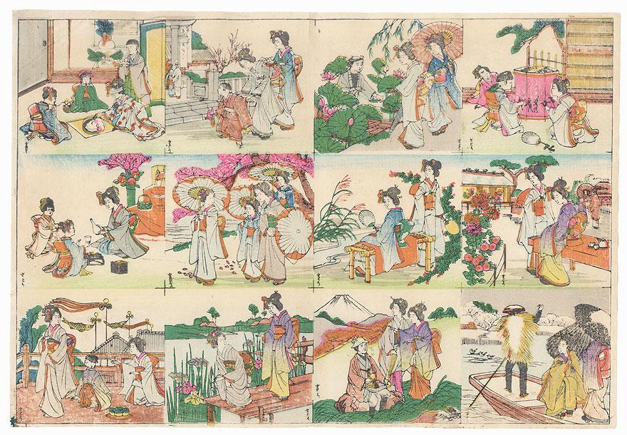 Twelve Scenes of Beauties by Meiji era artist (unsigned)