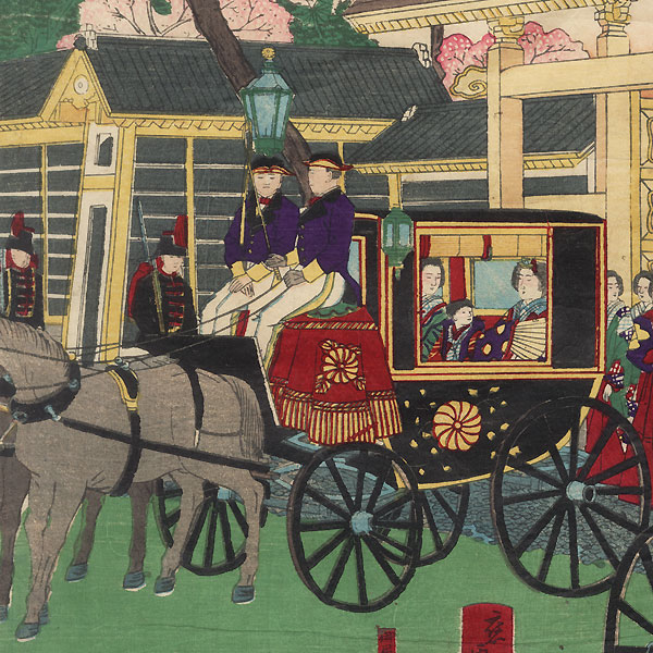 Famous Places in Tokyo: Illustration of the Emperor and Empress Leaving the Temporary Imperial Palace at Akasaka, 1881 by Hiroshige III (1843 - 1894)