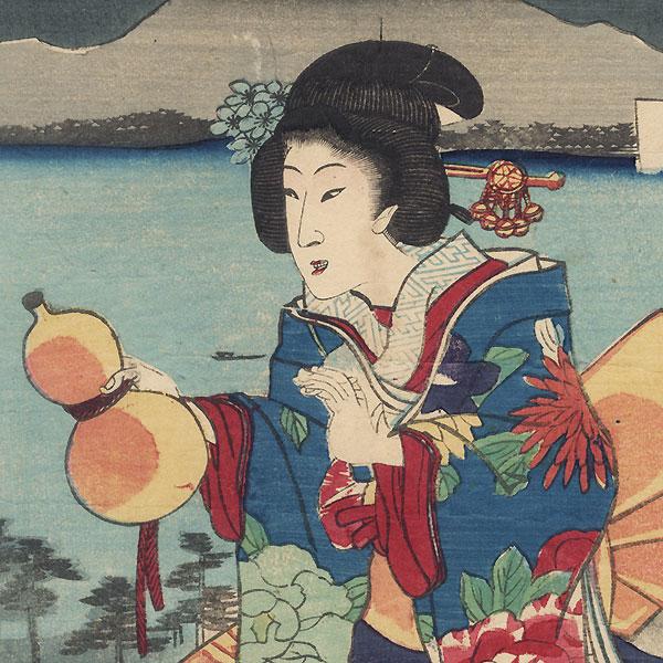 Beauty with a Gourd Bottle, 1867 by Kunisada II (1823 - 1880)